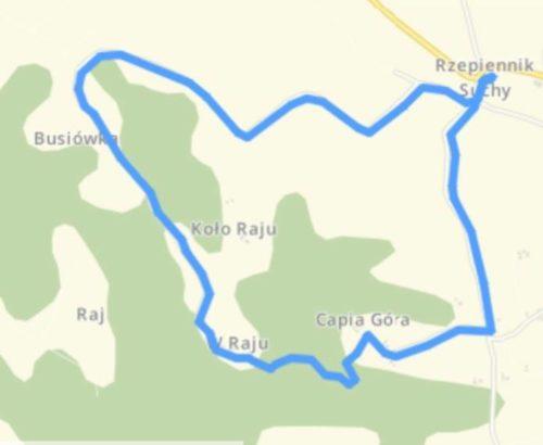 Mapka poglądowa trasy Biegu Kosiarza