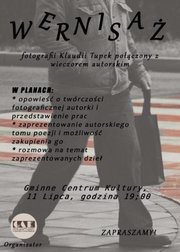 Plakat promujący wernisaż Klaudii Tupek