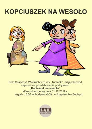 """Plakat promujący przedstawienie """"Kopciuszek na wesoło"""""""