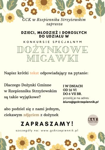 Plakat promujący konkurs Dożynkowe Migawki