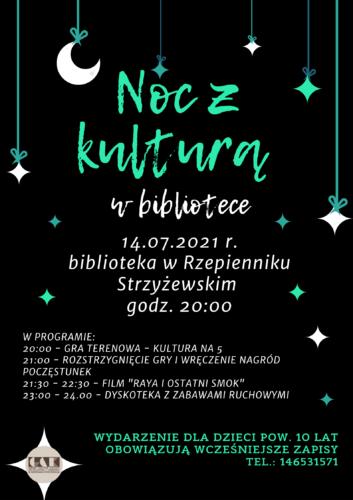 Plakat promujący noc z kulturą w bibliotece