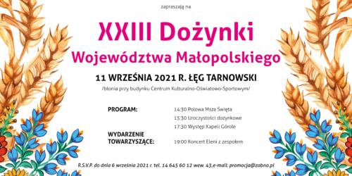 Zapraszamy na Dożynki Województwa Małopolskiego
